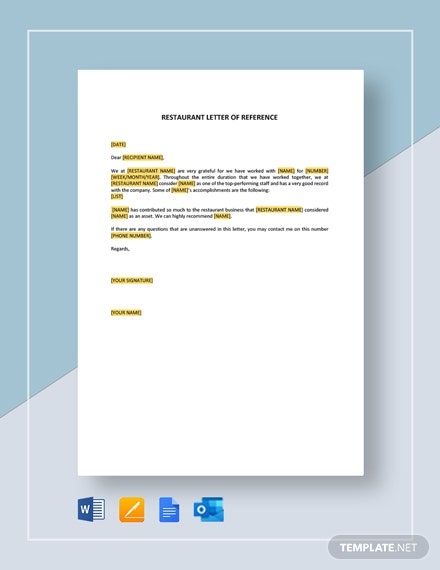 Restaurant Letter of Reference Short Template