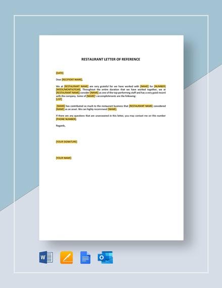 Restaurant Letter of Reference Short Template