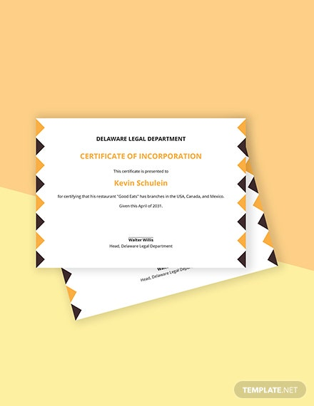 Restaurant Certificate of Incorporation Template