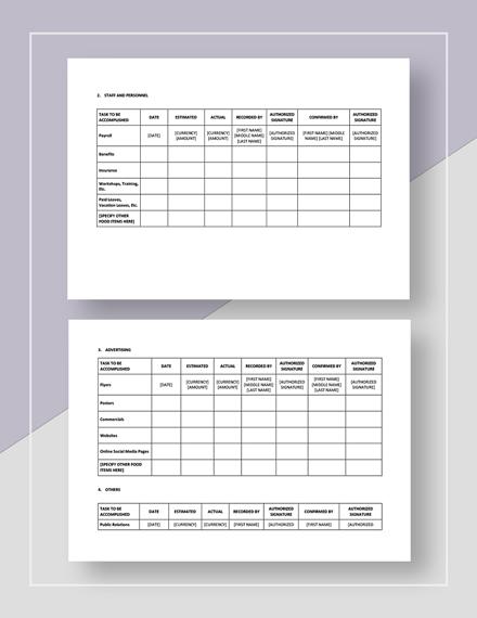 Restaurant Marketing Budget Download