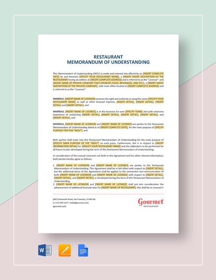 Restaurant Memorandum of Understanding Template