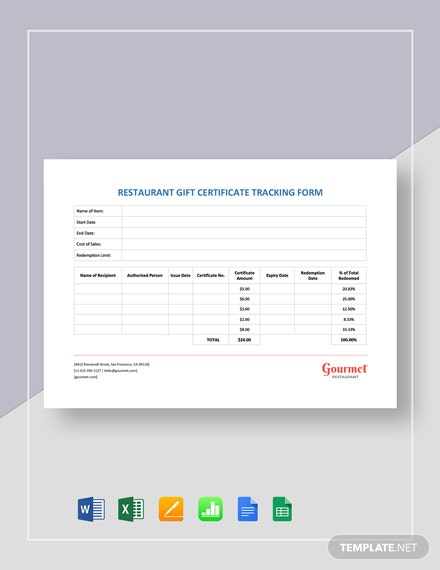 Restaurant Gift Certificate Tracking Form