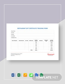 Restaurant Gift Certificate Tracking Form Template