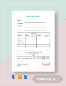 Restaurant Monthly Budget Template
