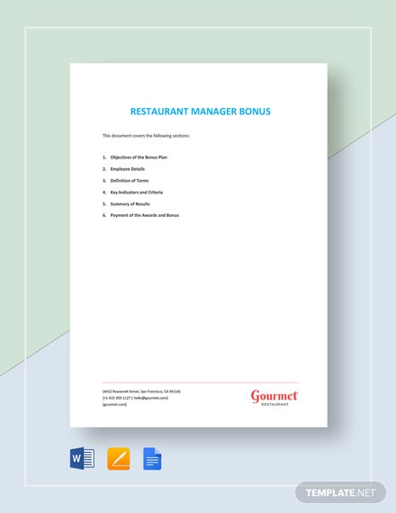 Restaurant Manager Bonus Template