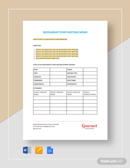 Restaurant Staff Meeting Memo Template