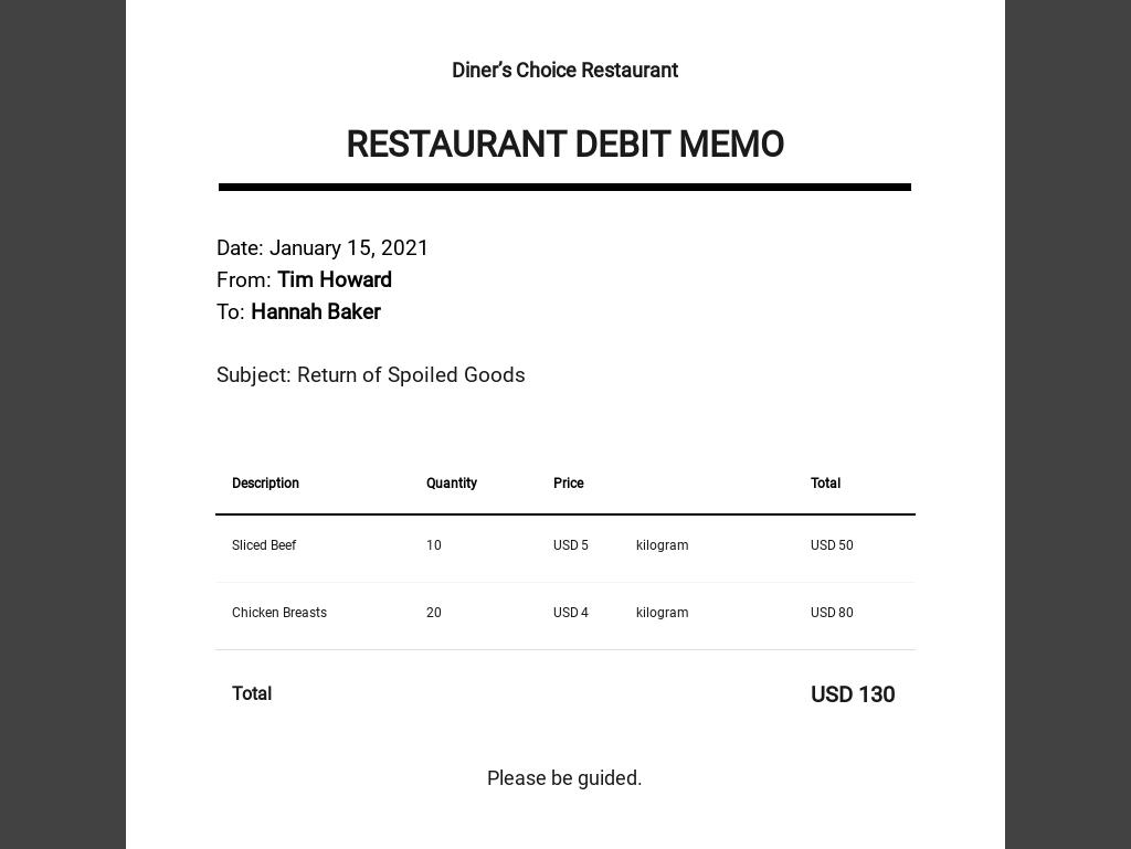Restaurant Debit Memo Template