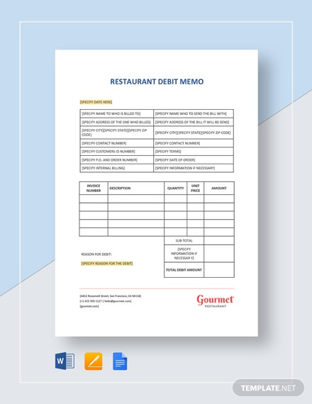 Restaurant Debit Memo Template