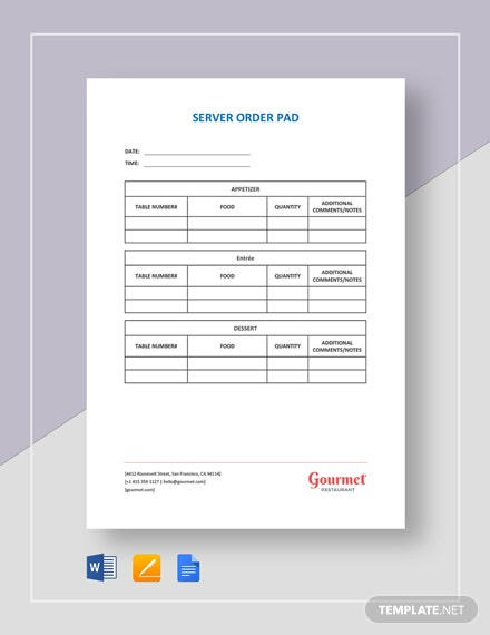 Order Pad Template Fitbo Wpart Co