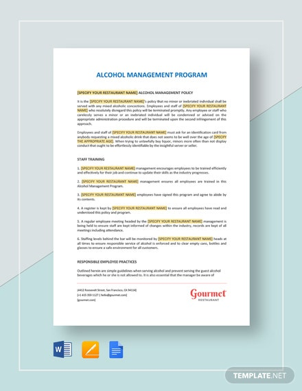 Restaurant Alcohol Management Program Template