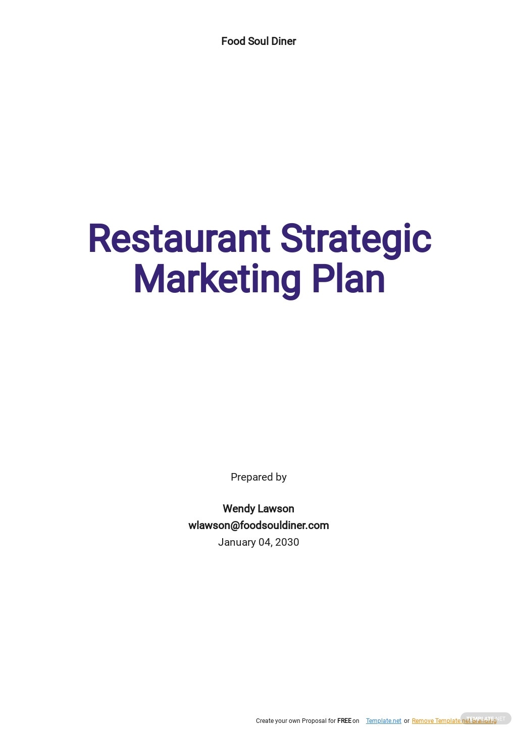 Restaurant Strategic Marketing Plan Template