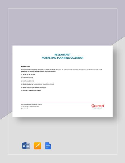 Restaurant Marketing Planning Calendar Template