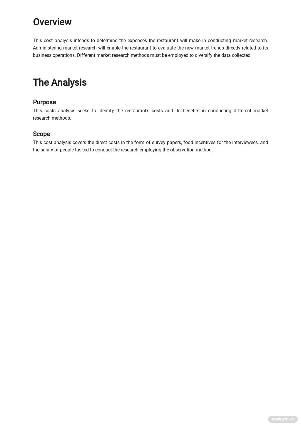 Cost Analysis of Restaurant Market Research Method Template 1.jpe