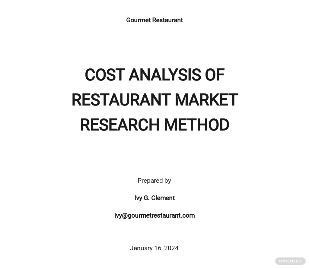 Cost Analysis of Restaurant Market Research Method Template