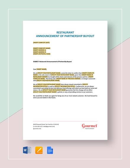 Restaurant Announcement of Partnership Buyout Template