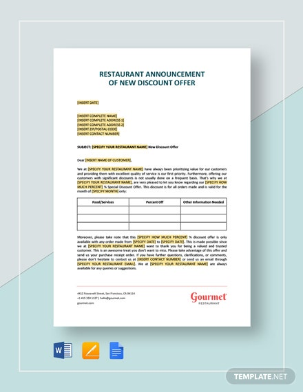 Restaurant Announcement of New Discount Offer Template
