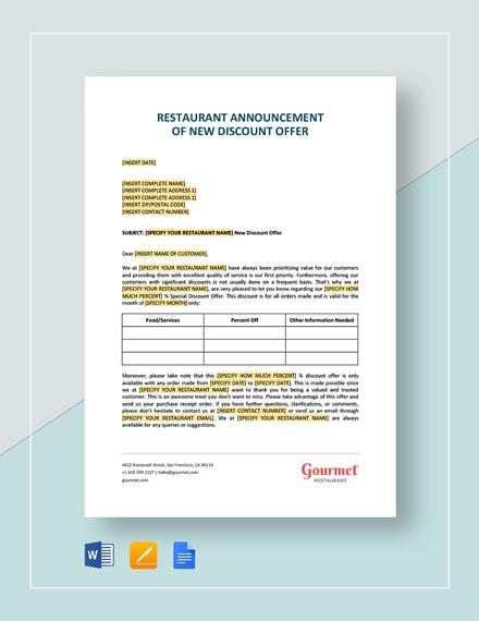Restaurant Announcement of New Discount Offer Template