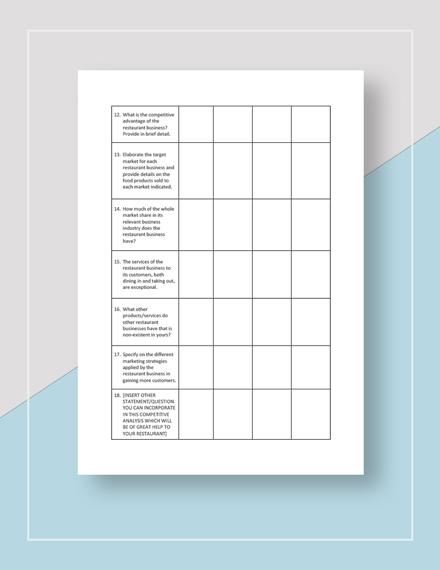Restaurant Competitor Analysis Worksheet Download