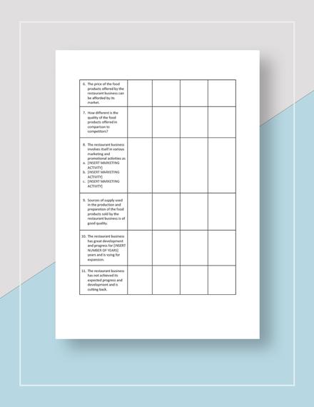 Restaurant Competitor Analysis Worksheet Template