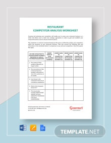 Restaurant Competitor Analysis Worksheet Template