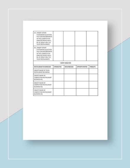 Sample Restaurant Competitor Analysis Worksheet