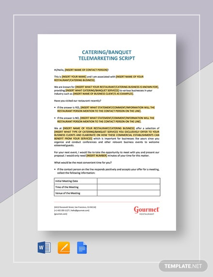 Catering Banquet Telemarketing Script Template