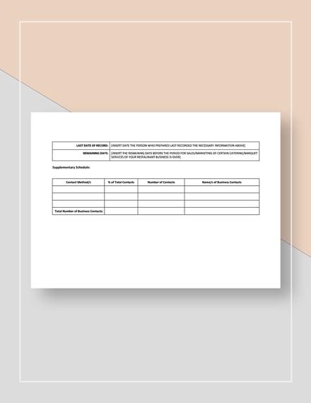 Catering Banquet Sales  Marketing Scorecard Template