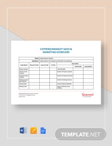 Catering Banquet Sales & Marketing Scorecard Template