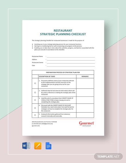 Restaurant Strategic Planning Checklist Template