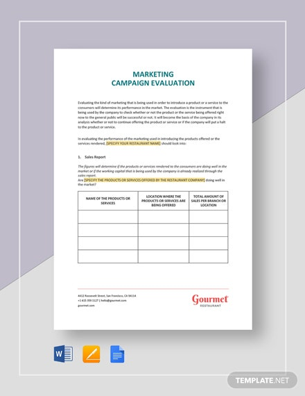 Restaurant Marketing Campaign Evaluation Template