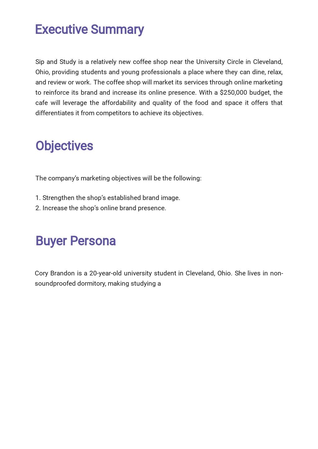 Sample Restaurant Marketing Plan Template  1.jpe