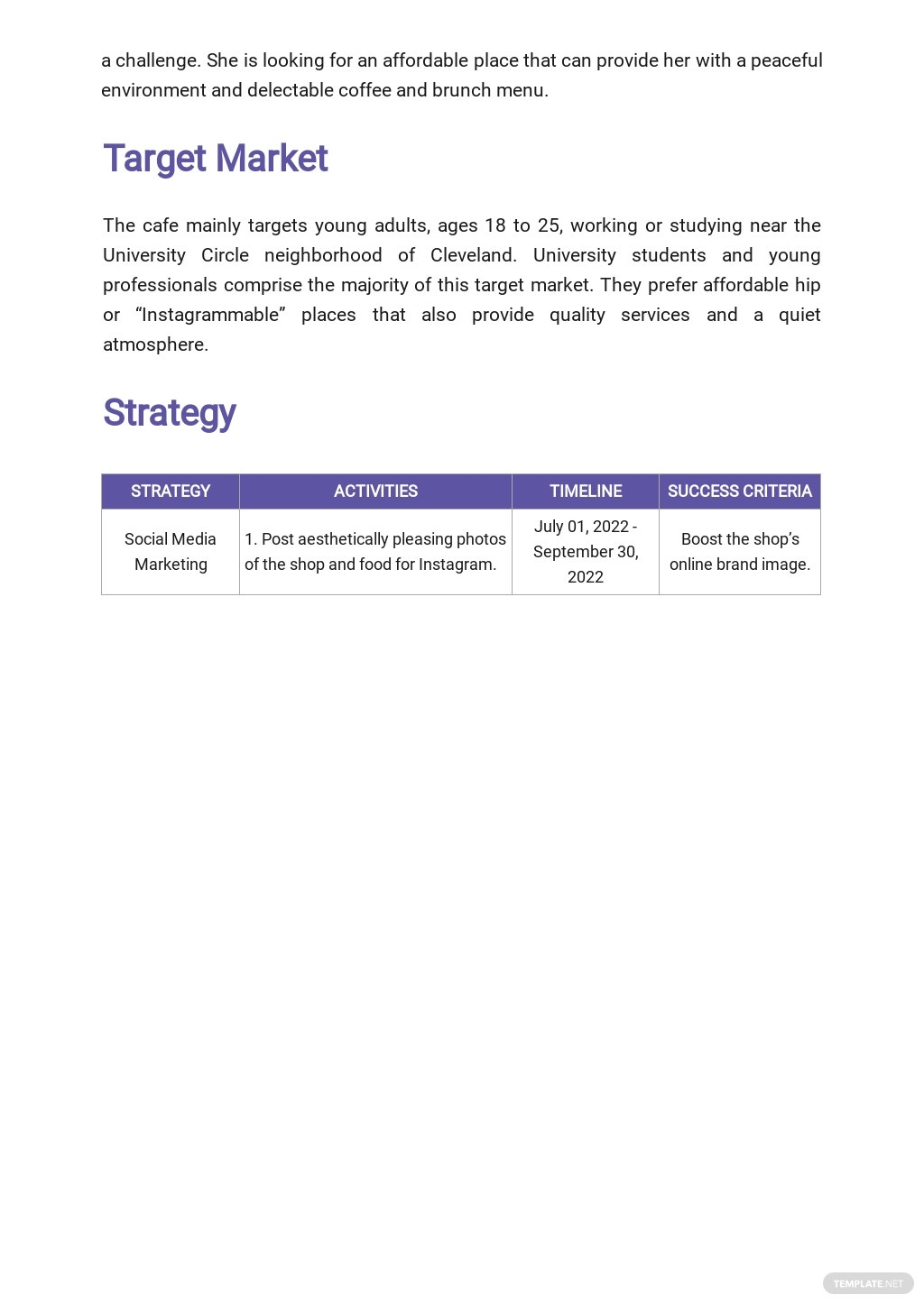 Sample Restaurant Marketing Plan Template  2.jpe