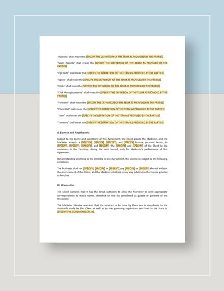 Restaurant Email Marketing Agreement Template