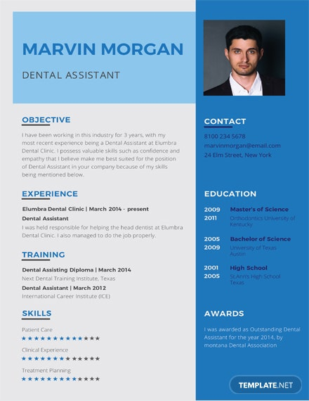 Free Dental Assistant Resume Template