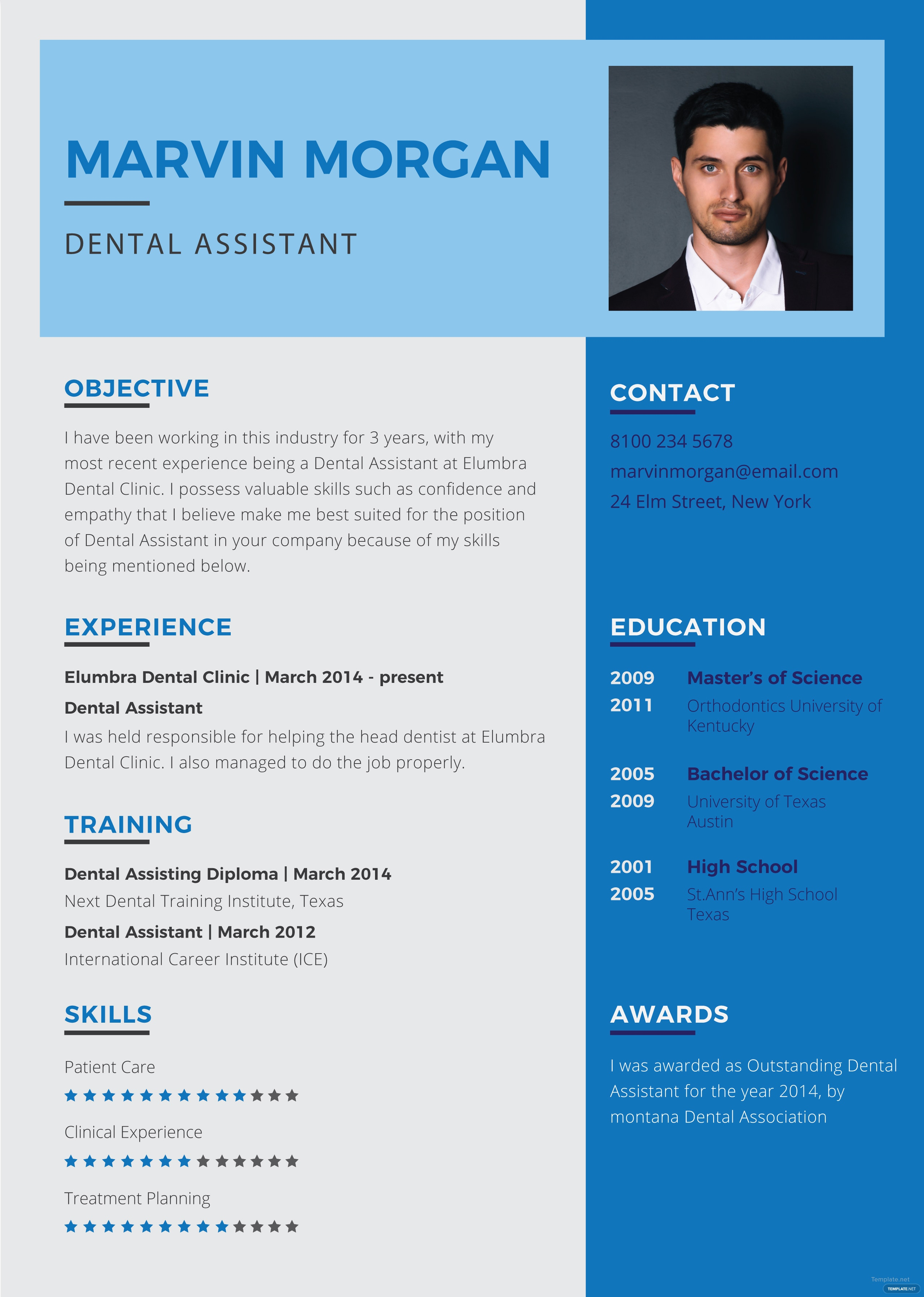 free dental assistant resume template in adobe photoshop