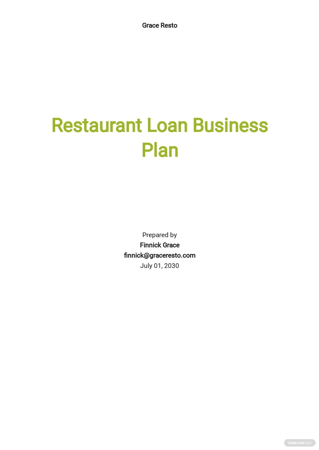 Restaurant Business Plan To Get A Loan Template