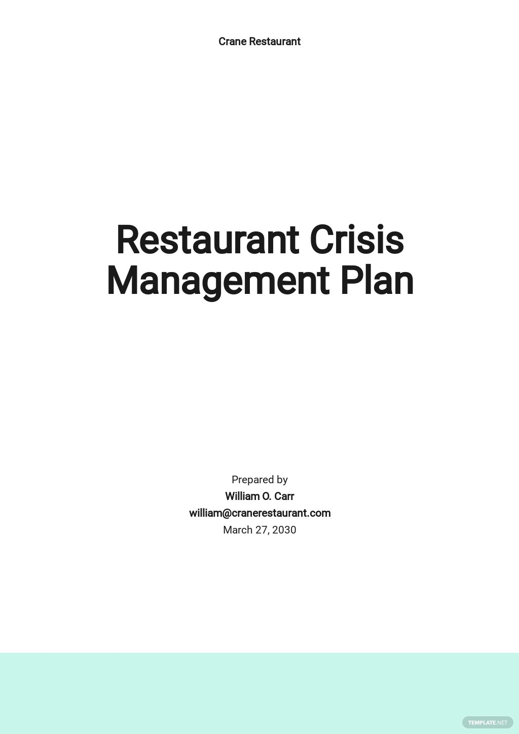 Restaurant Crisis Management Plan Template