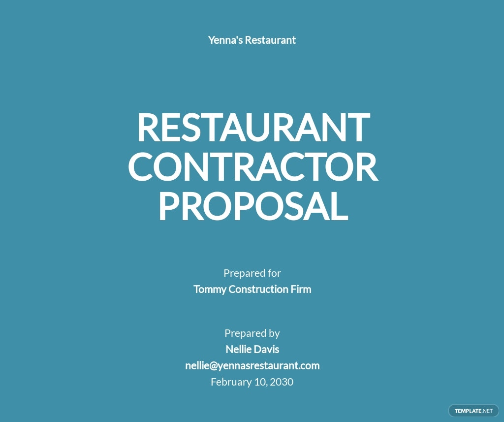 Restaurant Contractor Proposal Template