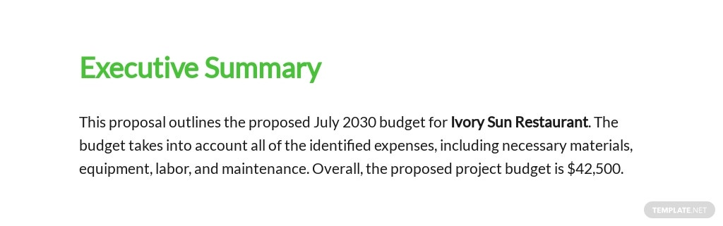Restaurant Budget Proposal Template [Free PDF] - Google Docs, Word, Apple Pages
