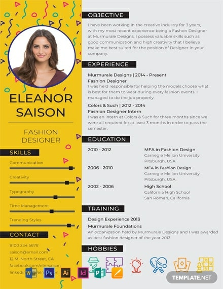 Free Best Fashion Designer Resume Template