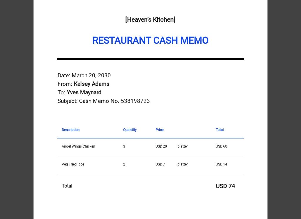 Restaurant Cash Memo Template