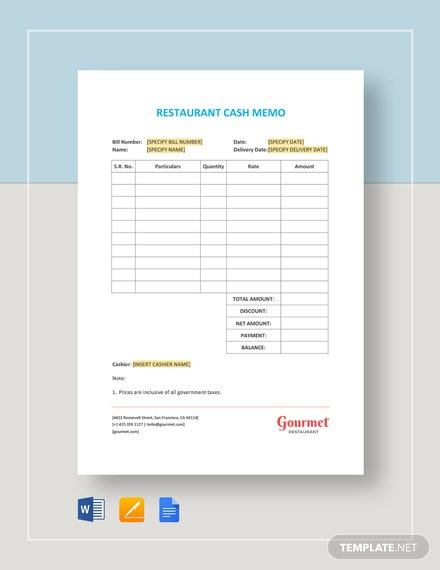 Restaurant Cash Memo Template