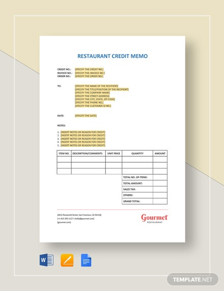 Restaurant Credit Memo Template