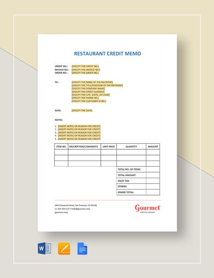 Restaurant Credit Memo Template