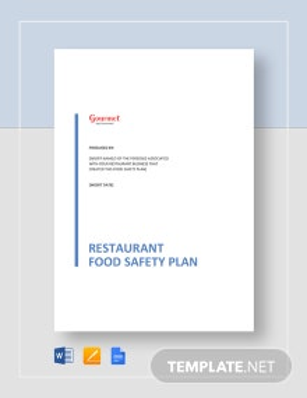 Restaurant Food Safety Plan Template