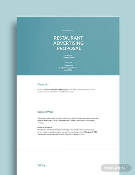 Restaurant Advertising Proposal Template