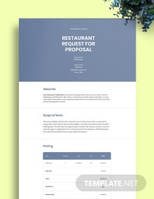 Restaurant Request for Proposal Template