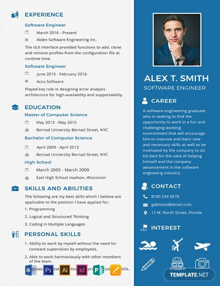 FREE Resume and CV for Software Engineer Fresher Template: Download ...