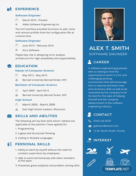 Free Resume for Software Engineer Fresher Template