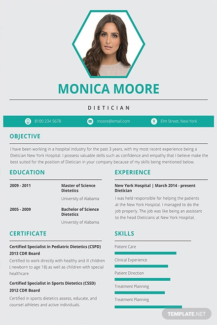 Free Dietician Resume And Cv Template In Adobe Photoshop